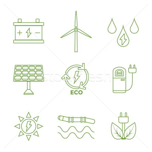 Stock photo: green outline recycle ecology energy icons