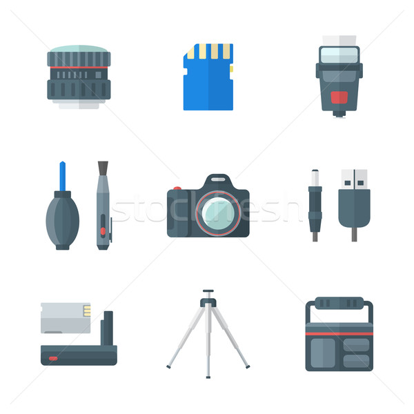 color flat style isolated digital photography tools icons  Stock photo © TRIKONA