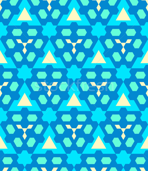 blue cyan yellow color abstract geometric seamless pattern
