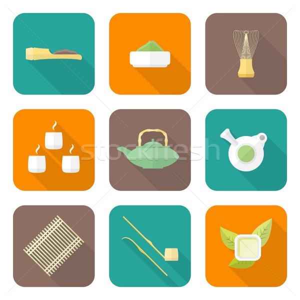 various color flat style japan tea ceremony equipment icons set Stock photo © TRIKONA