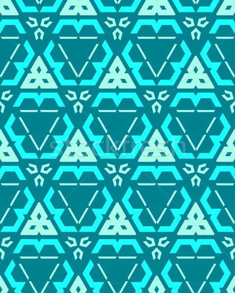 blue green cyan color abstract geometric seamless pattern