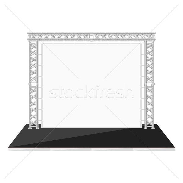 black color flat style low stage with banner on metal truss