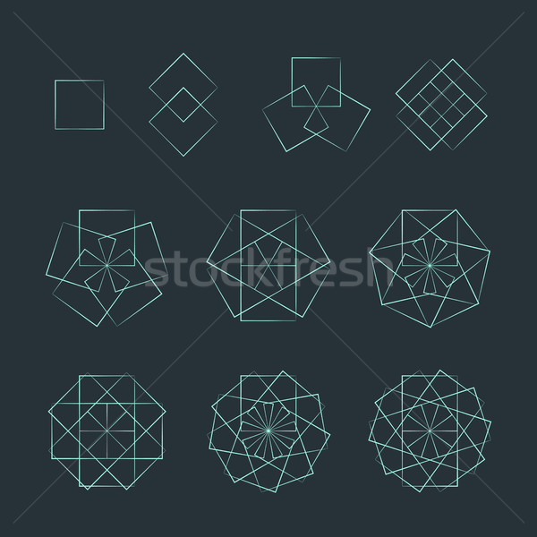 quadrangle contour various sacred geometry set