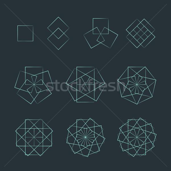 quadrangle contour various sacred geometry set Stock photo © TRIKONA