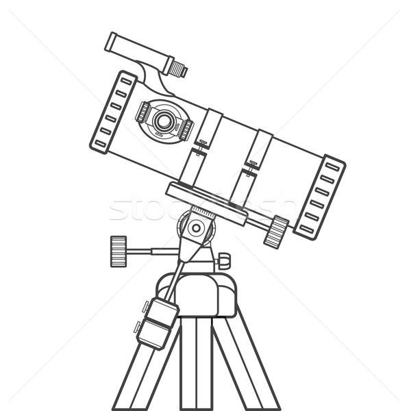 Vector schets telescoop illustratie zwarte kleur Stockfoto © TRIKONA