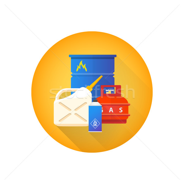 vector combustible hazardous waste icon
