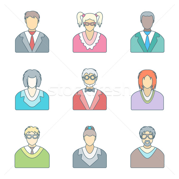 Különböző szín skicc emberek szemüveg ikon szett Stock fotó © TRIKONA