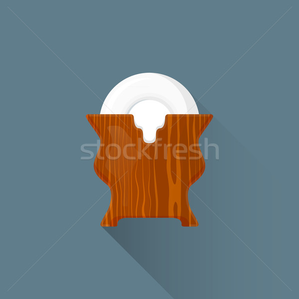 vector flat asian tea saucers stand illustration icon