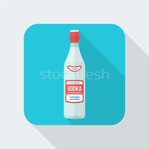 Stil votka şişe ikon gölge vektör Stok fotoğraf © TRIKONA