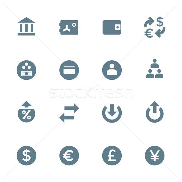 solid grey various financial banking icons set Stock photo © TRIKONA