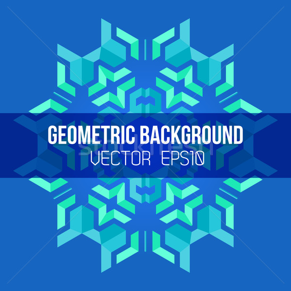 Azul verde simétrico abstrato geométrico mandala Foto stock © TRIKONA