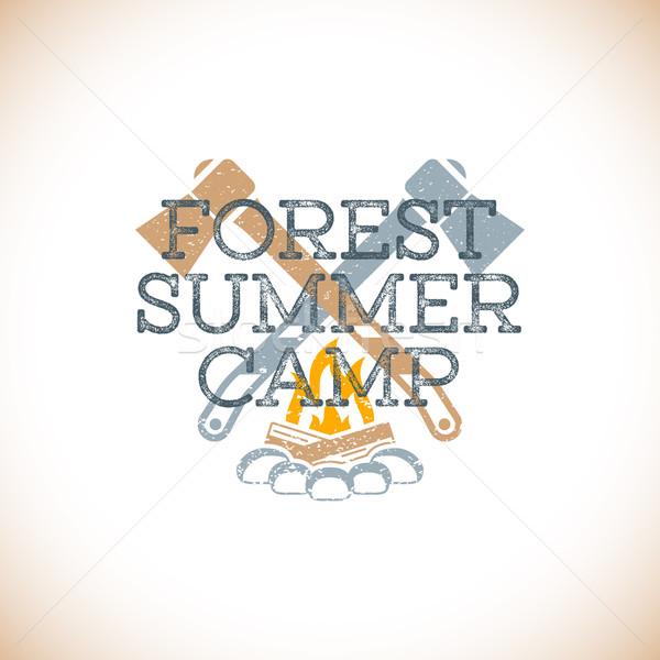 Renk yaz kampı imzalamak şablon vektör renkli Stok fotoğraf © TRIKONA