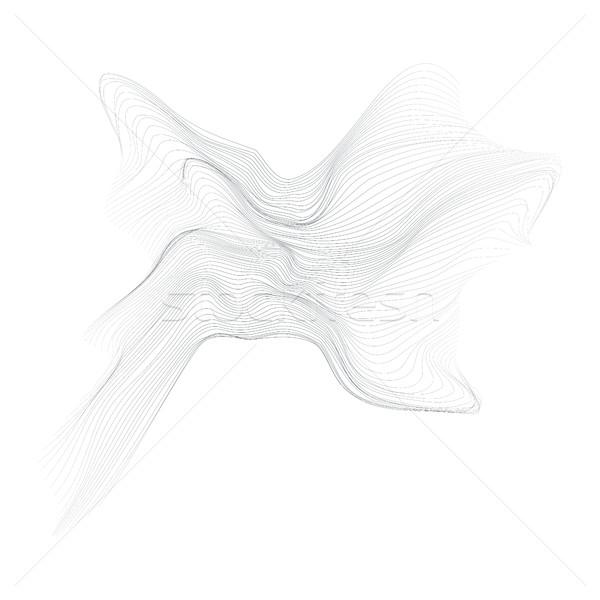 Foto stock: Forma · vetor · preto · linhas · abstrato · ondas