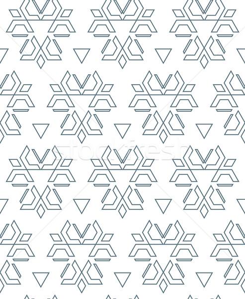dark monochrome color outline abstract geometric seamless patter Stock photo © TRIKONA