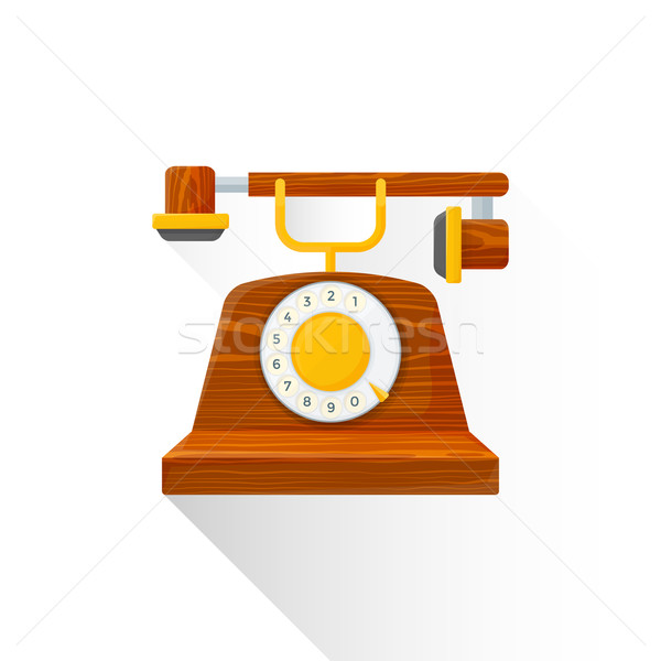 vector flat style vintage wooden dial phone illustration icon