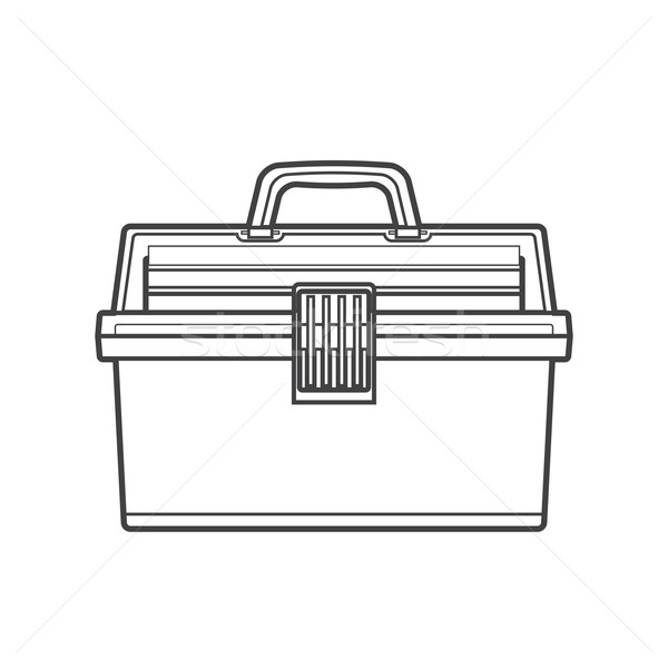 outline fishing tackle box illustration