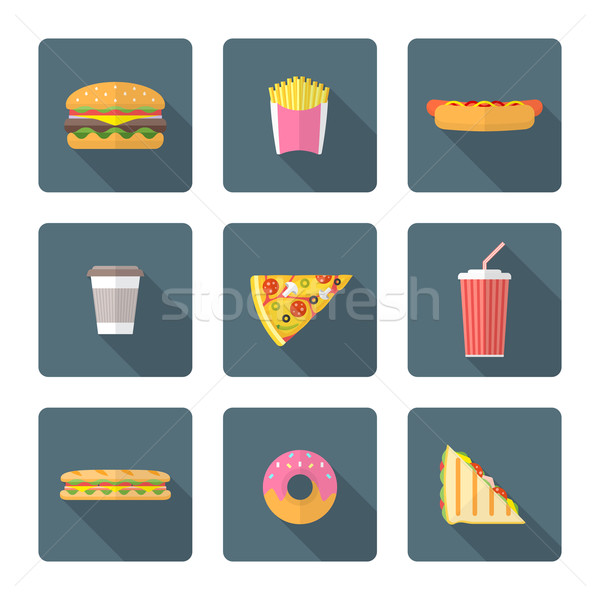 flat style colored various fast food icons collection Stock photo © TRIKONA