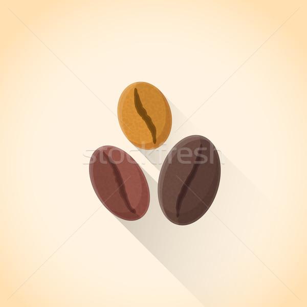 Stockfoto: Vector · koffiebonen · ingesteld · illustratie · icon