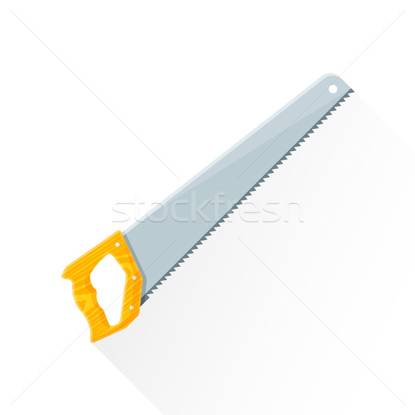 vector flat construction handsaw illustration icon