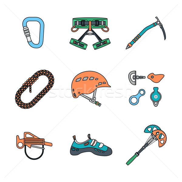 colored outline various alpinism tools icons collection