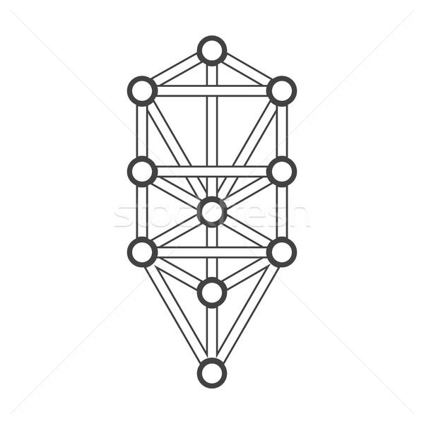 monochrome outline sacred tree of life diagram illustration Stock photo © TRIKONA