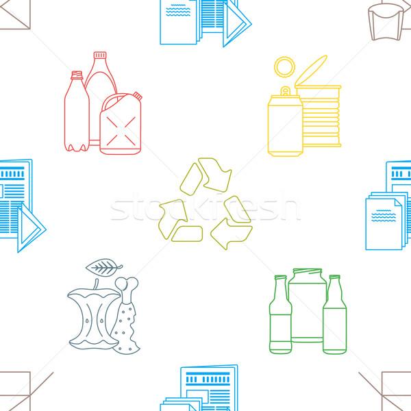 vector recycle waste seamless pattern Stock photo © TRIKONA