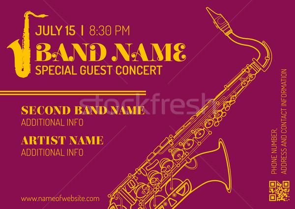 jazz music concert saxophone vertical music flyer template  Stock photo © TRIKONA
