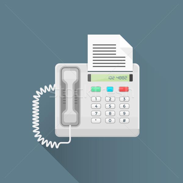 Vektor stílus iroda fax telefon illusztráció Stock fotó © TRIKONA