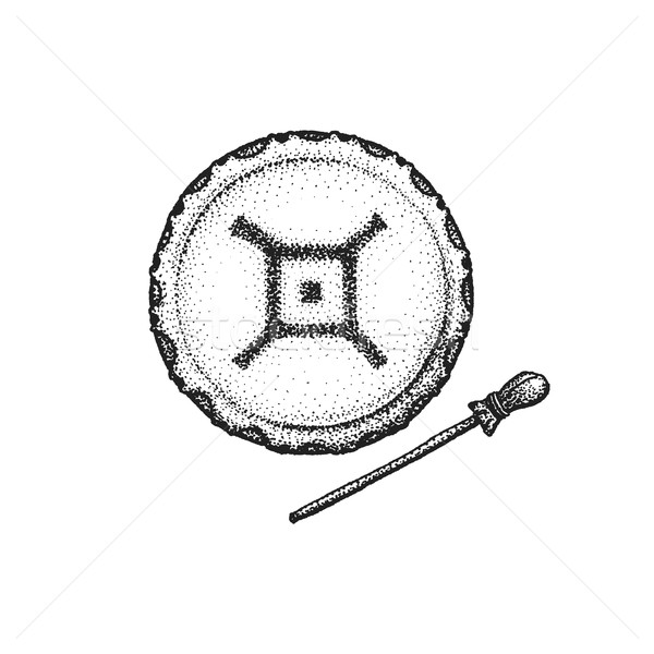 hand drawn indian shaman drum vintage illustration