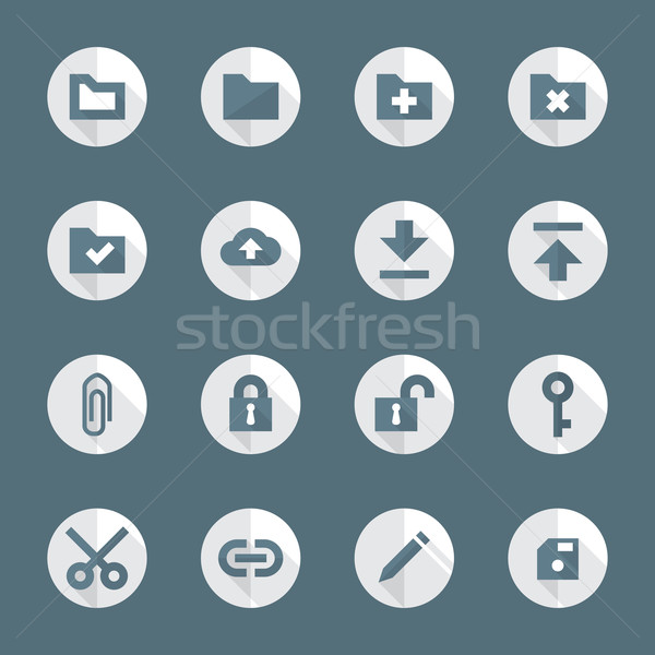 flat style various file actions icons set Stock photo © TRIKONA