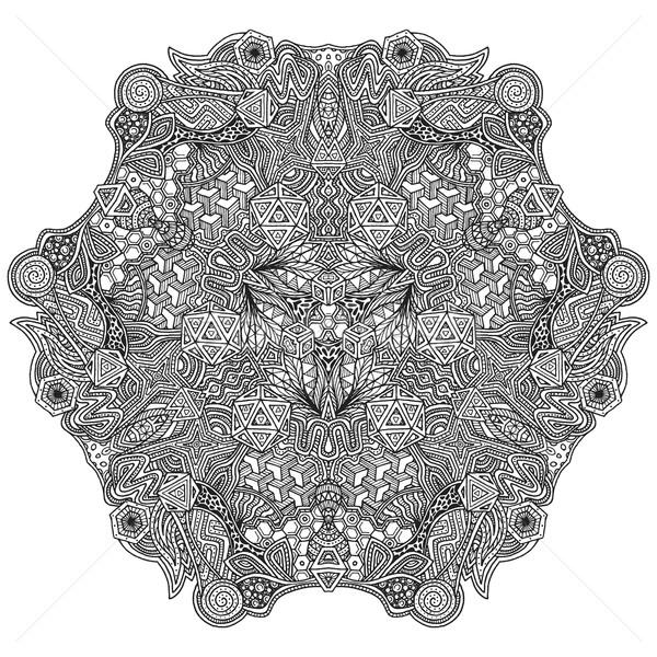 monochrome hand drawn decorative zentangle illustration Stock photo © TRIKONA