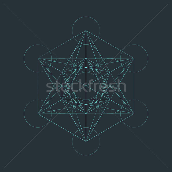 monocrome outline sacred metatron cube illustration