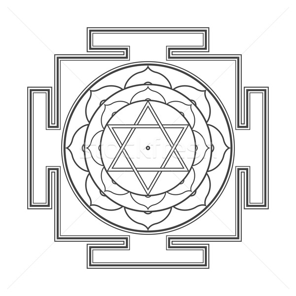 Monocrome Outline Bhuvaneshwari Yantra Illustration Vector