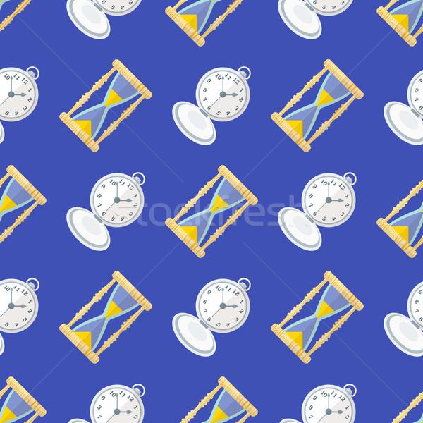 vector clock watches seamless pattern Stock photo © TRIKONA