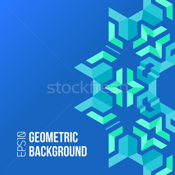 blue green asymmetric abstract geometric background Stock photo © TRIKONA