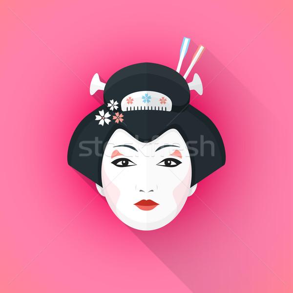 Színes stílus gésa arc illusztráció vektor Stock fotó © TRIKONA