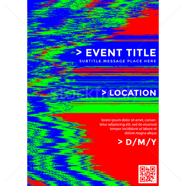 vector glitch background poster template