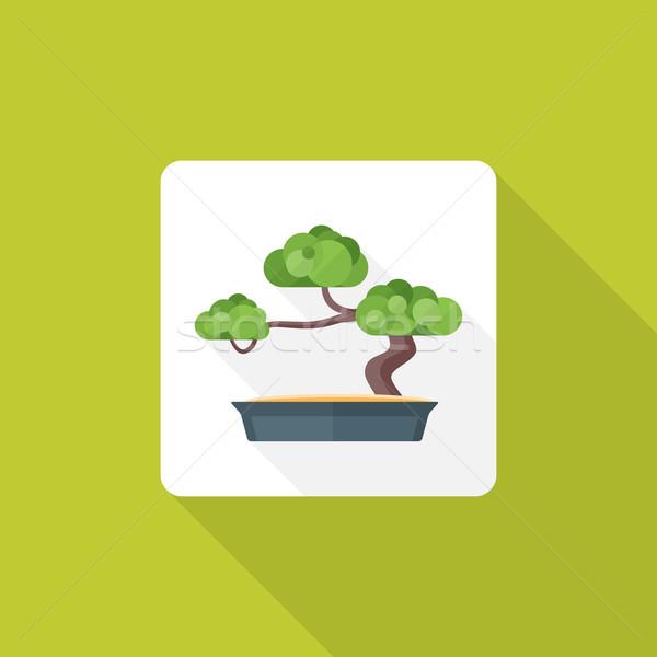 Stílus bonsai ikon árnyék vektor színes Stock fotó © TRIKONA