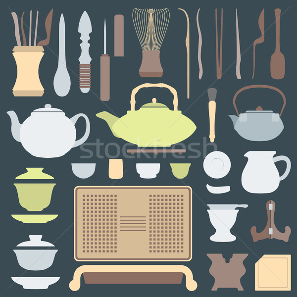solid colors tea ceremony equipment set Stock photo © TRIKONA