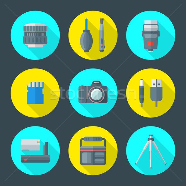 Vector fotografie goederen iconen kleurrijk Stockfoto © TRIKONA