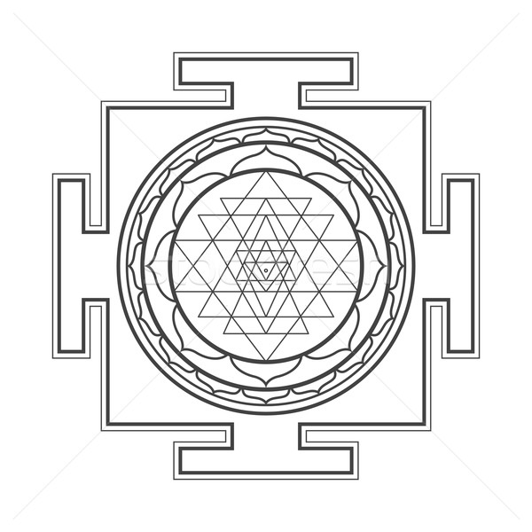 monocrome outline Sri yantra illustration vector illustration