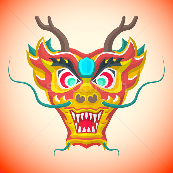 flat style chinese red dragon mask Stock photo © TRIKONA