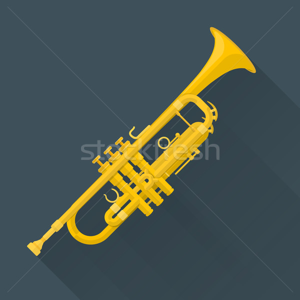 color flat style vector trumpet