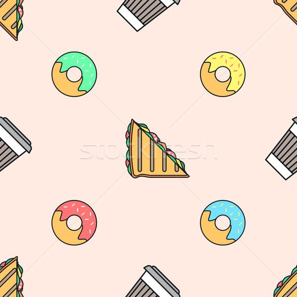 Kávé papír csésze fánk szendvics színes Stock fotó © TRIKONA
