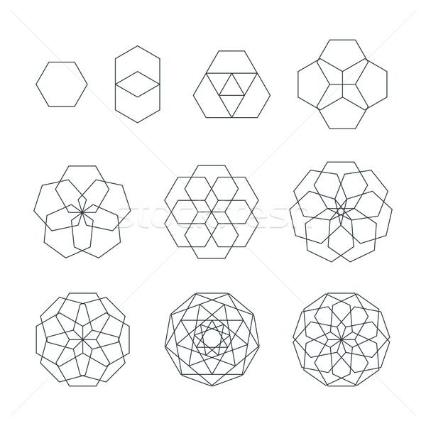 Stock fotó: Körvonal · különböző · szent · mértan · szett · vektor