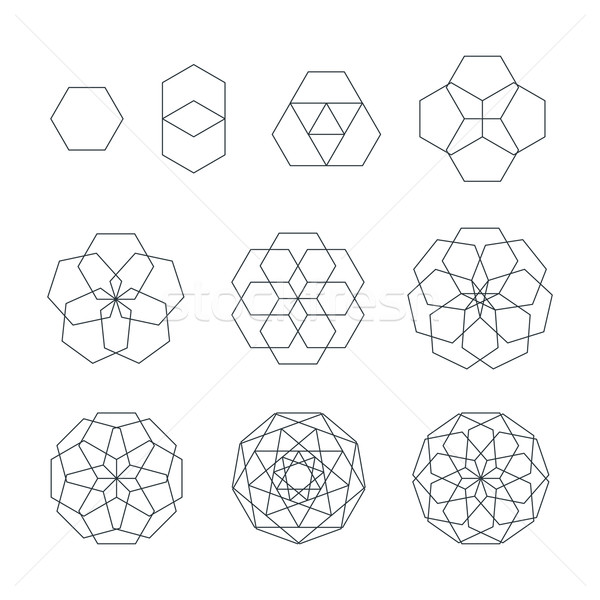 sexangle contour various sacred geometry set Stock photo © TRIKONA