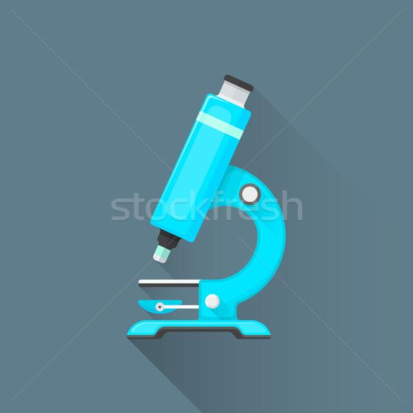 Vector Blauw microscoop illustratie icon gekleurd Stockfoto © TRIKONA