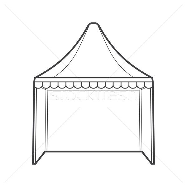 outline folding tent marquee illustration
