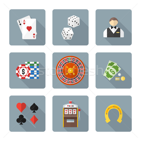 flat style colored various gambling icons collection