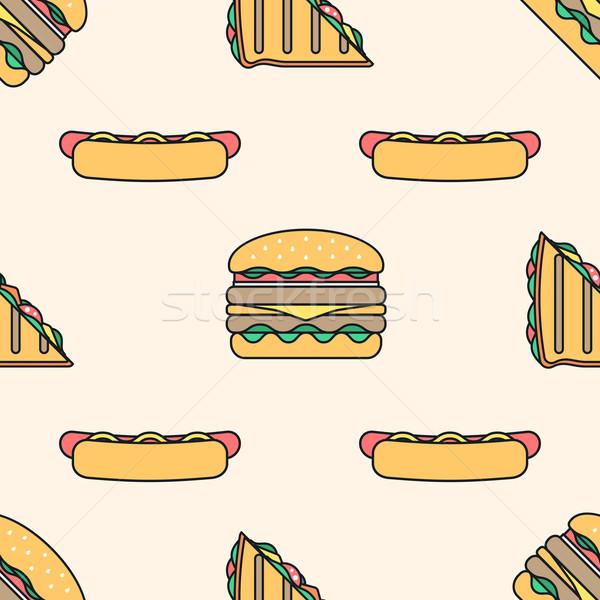 Hot Dog трехслойный бутерброд Burger Сток-фото © TRIKONA